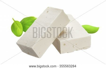 Sliced Feta Cheese Isolated On White Background