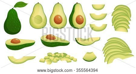 Cartoon Avocado. Ripe Avocados Fruits, Healthy Nutritious Natural Food And Avocado Slices Vector Ill
