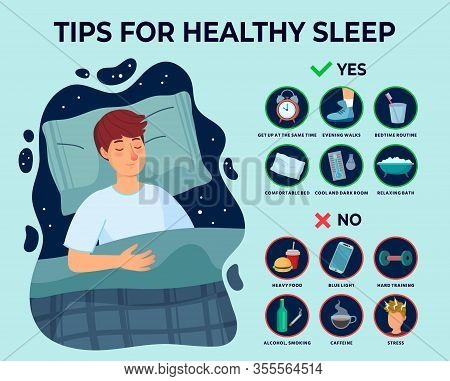 Healthy Sleep Tips Infographics. Causes Of Insomnia, Good Sleep Rules And Man Sleeps On Pillow Vecto