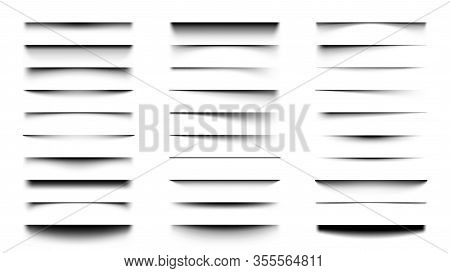 Realistic Shadows. Overlay And Transparency Shadow Effect Template, Box Or Paper Page Shadow With So