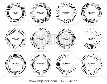 Round Halftone Frame. Dotted Circle, Vintage Abstract Dot Halftones Frames And Random Dots Circles V