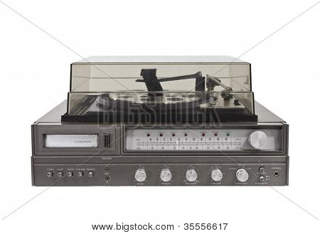1970's vintage stereo with eight track, radio and turntable.