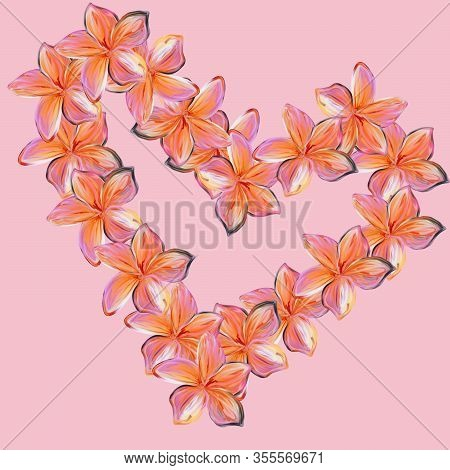 Watercolor Pink With Yellow Frangipani Plumeria Flowers In Shape Of Heart On Pale Background. Valent
