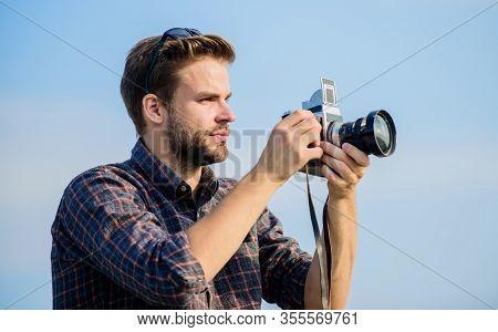 Reporter Taking Photo. Vintage Equipment. Blogger Shooting Vlog. Vacation Time. Handsome Blogger Guy
