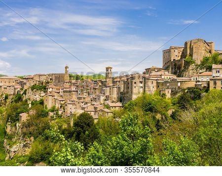 Panoramic View Of Sorano, Tuff Mediaeval Village In Tuscany, Italy
