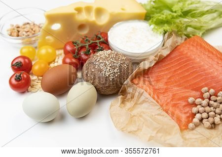 Healthy Eating Food. Ingredients For Low Carb Keto Ketogenic Diet. Intermittent Fasting Conception.
