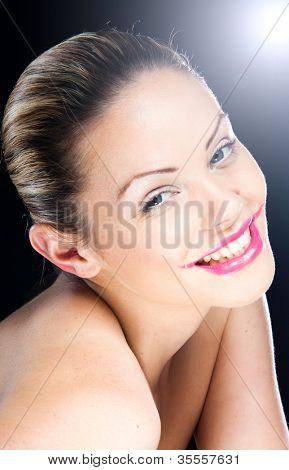 portrait of blonde woman with overdone lipstick