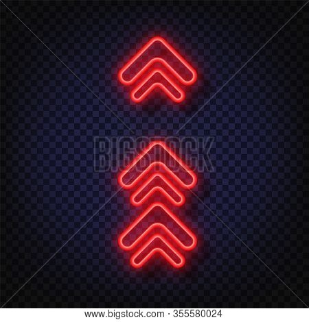 Swipe Up Neon Sign. Glowing Neon Arrow Pointer Isolated. Realistic Glowing Bright Neon Arrow. Shinin