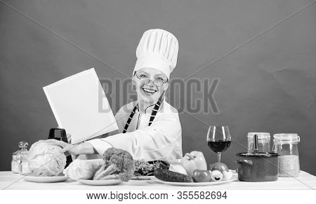 Chef Cooking Healthy Food. Girl Read Book Best Culinary Recipes. Culinary School Concept. Book By Fa