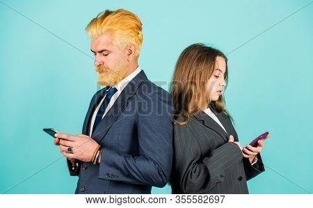 Mobile Banking. Social Networks. Application Online Services. Internet Surfing. Man And Girl With Sm