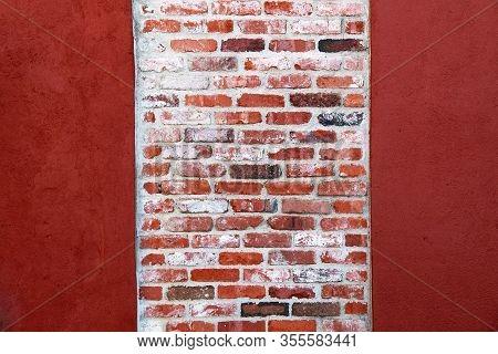 Bright Red Painted Vintage Brick Garden Wall Column