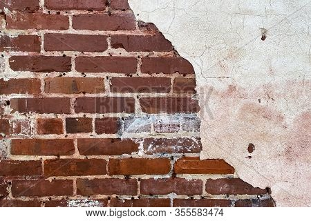 Cracked White Stucco Brick Wall Retro Garden