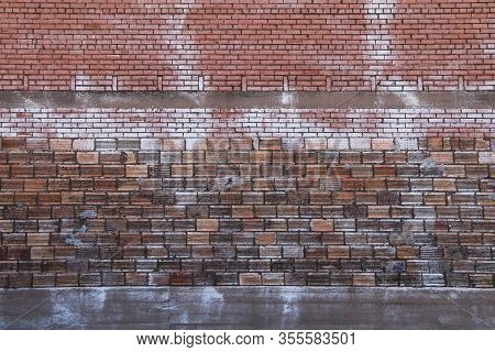 Old Brick Garden Wall Stained Lime Water Damage