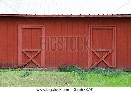 Red Barn White Roof Double Doors Grass Field