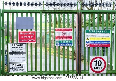 Safety Starts Here And Health Safety Construction Board Notice Sign Where Building Site Works Are Ta