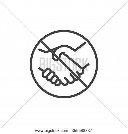 No Handshake Line Icon. Handshake Ban Linear Style Sign For Mobile Concept And Web Design. Stop Hand