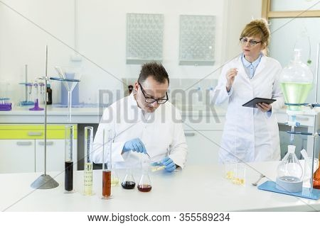 Scientists Working With Terpene Crystals Called. They Are In Pharmaceutical Laboratory And Cbd And C
