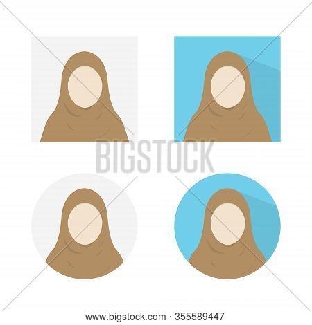 Hijab Profile Avatar Vector, Hijab Profile Office Icon Set