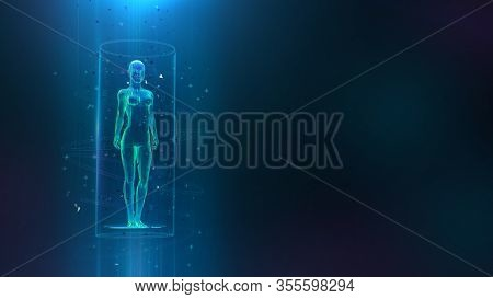 Clinical Study, Healthcare Concept With 3d Female Body Hologram And Hud Elements. Neural Network Art