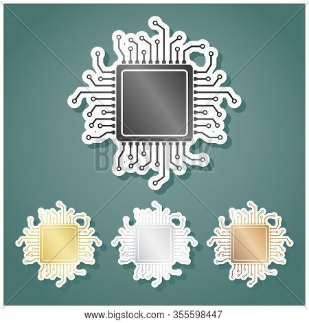 Cpu Microprocessor Illustration. Set Of Metallic Icons With Gray, Gold, Silver And Bronze Gradient W