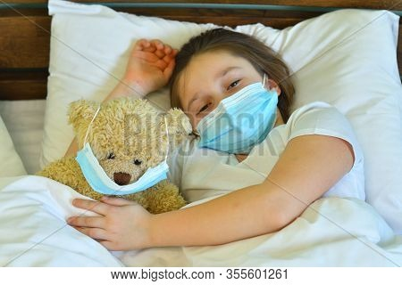 Blue Infection Preventive Face Mask In Bear Face And Space For Write Wording. Important Tools For Pr