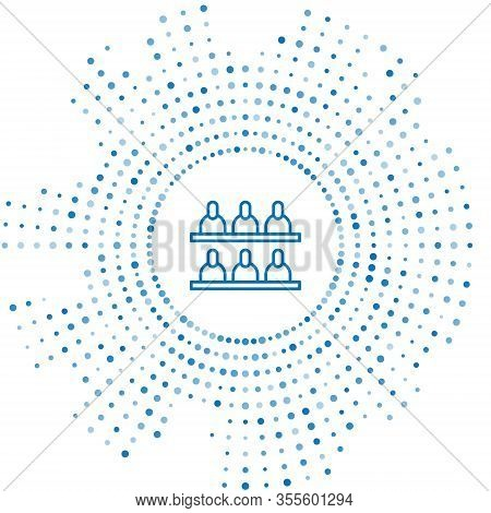 Blue Line Jurors Icon Isolated On White Background. Abstract Circle Random Dots. Vector Illustration