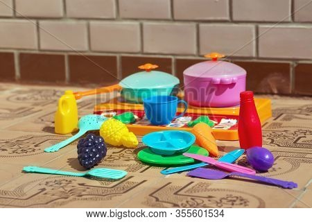 Image Of Childrens Dishes Close-up. Copy Space