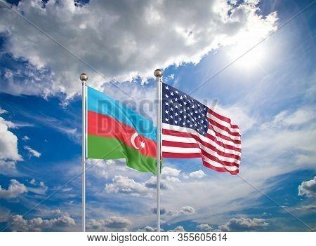 United States Of America Vs Azerbaijan. Thick Colored Silky Flags Of America And Azerbaijan. 3d Illu