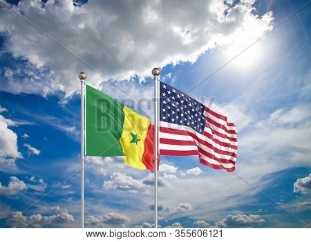 United States Of America Vs Senegal. Thick Colored Silky Flags Of America And Senegal. 3d Illustrati