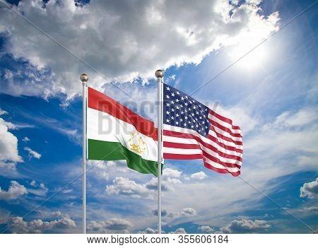 United States Of America Vs Tajikistan. Thick Colored Silky Flags Of America And Tajikistan. 3d Illu