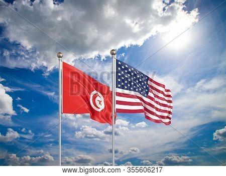 United States Of America Vs Tunisia. Thick Colored Silky Flags Of America And Tunisia. 3d Illustrati