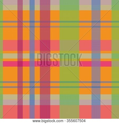 Modern Tartan-geometric Patchwork Seamless Repeat Patter. Vivid And Fresh Tartan Illustrated Patchwo