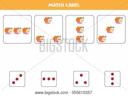 Educational Worksheet For Preschool Kids. Match Cards With Dots And Snails By Amount.