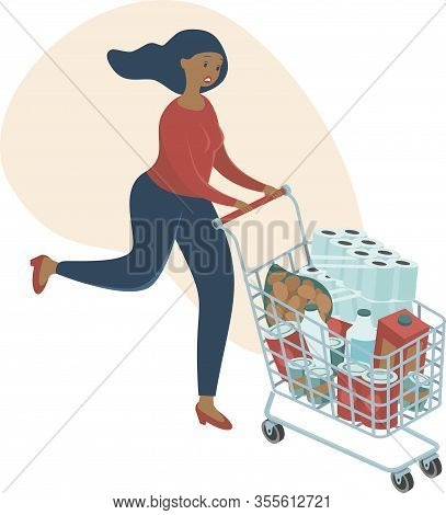 Coronavirus Panic Shopping. Terrified Woman Runnig with Full Cart buying all Groceries She Can Find