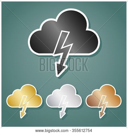 Storm Icon. Set Of Metallic Icons With Gray, Gold, Silver And Bronze Gradient With White Contour And