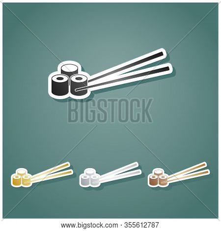 Sushi Rolls. Set Of Metallic Icons With Gray, Gold, Silver And Bronze Gradient With White Contour An