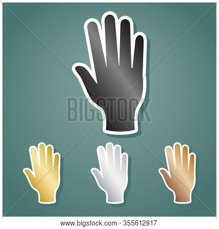 Clean Hands Sign. Set Of Metallic Icons With Gray, Gold, Silver And Bronze Gradient With White Conto