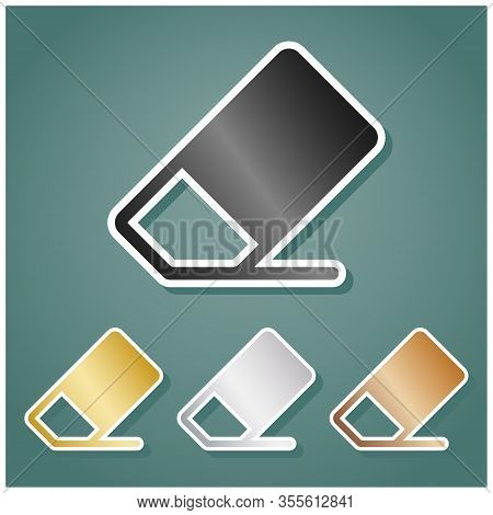 Eraser Sign. Set Of Metallic Icons With Gray, Gold, Silver And Bronze Gradient With White Contour An