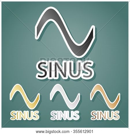 Sinus Graph Line Icon. Set Of Metallic Icons With Gray, Gold, Silver And Bronze Gradient With White