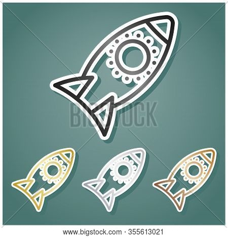 Rocket Sign. Set Of Metallic Icons With Gray, Gold, Silver And Bronze Gradient With White Contour An