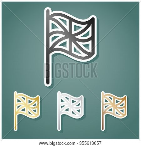 Flag Sign. Set Of Metallic Icons With Gray, Gold, Silver And Bronze Gradient With White Contour And