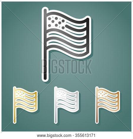 American Flag Sign. Set Of Metallic Icons With Gray, Gold, Silver And Bronze Gradient With White Con