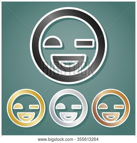 Smile Sign. Set Of Metallic Icons With Gray, Gold, Silver And Bronze Gradient With White Contour And