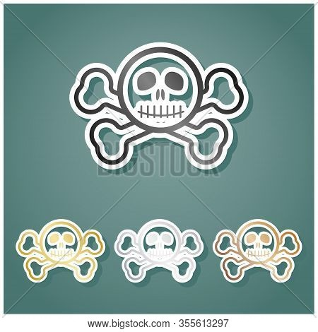 Crossbones Sign. Set Of Metallic Icons With Gray, Gold, Silver And Bronze Gradient With White Contou