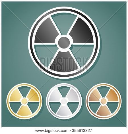 Radiation Sign. Set Of Metallic Icons With Gray, Gold, Silver And Bronze Gradient With White Contour