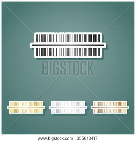 Bar Code Sign. Set Of Metallic Icons With Gray, Gold, Silver And Bronze Gradient With White Contour