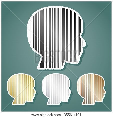 Face Barcode Sign. Set Of Metallic Icons With Gray, Gold, Silver And Bronze Gradient With White Cont