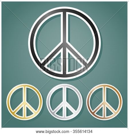 Peace Sign. Set Of Metallic Icons With Gray, Gold, Silver And Bronze Gradient With White Contour And