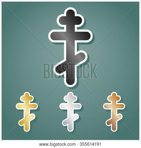 Cross Sign. Set Of Metallic Icons With Gray, Gold, Silver And Bronze Gradient With White Contour And