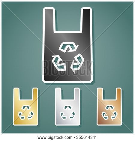 Eco Friendly Recycle Sign. Set Of Metallic Icons With Gray, Gold, Silver And Bronze Gradient With Wh